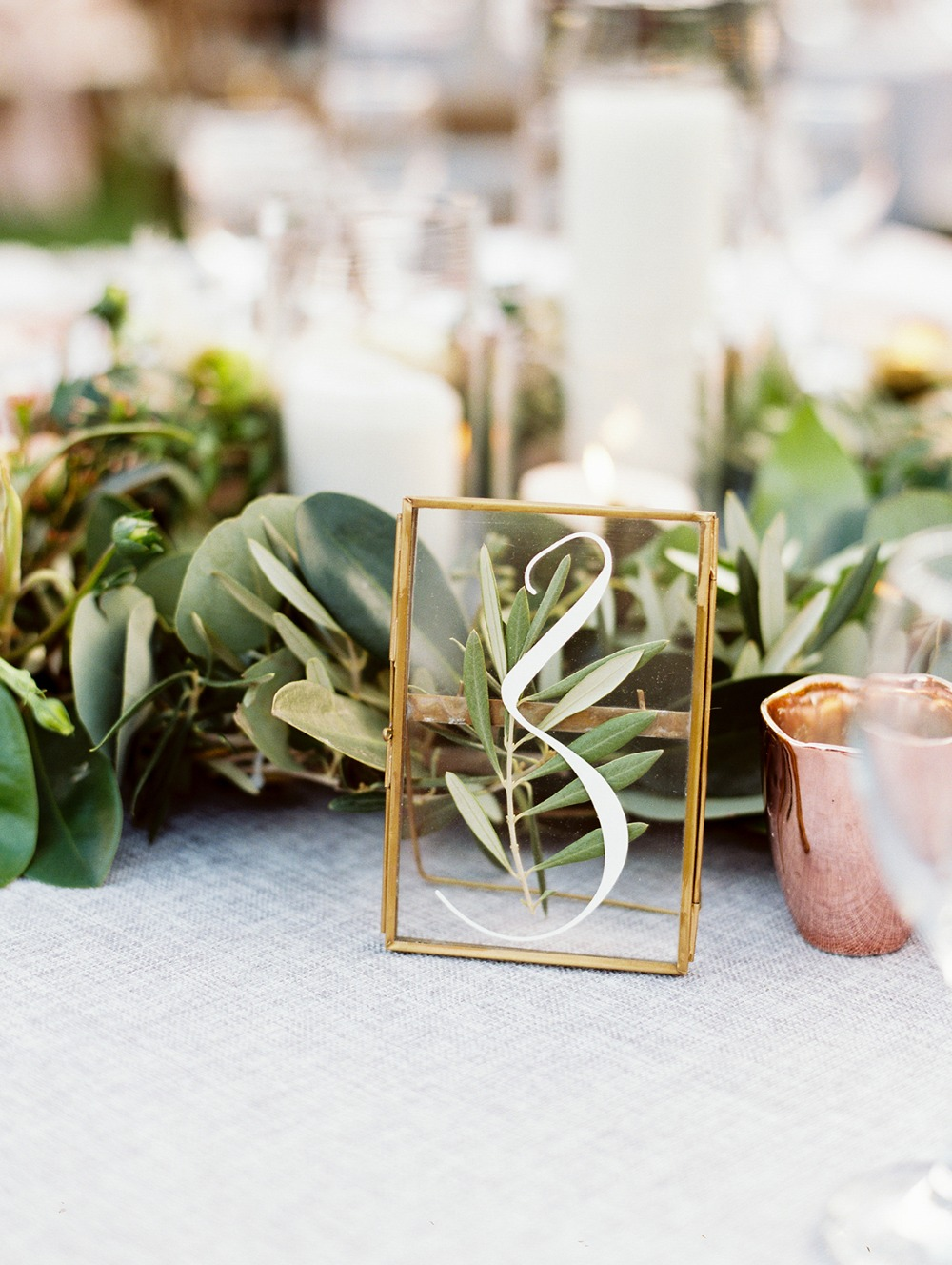 framed glass wedding table number
