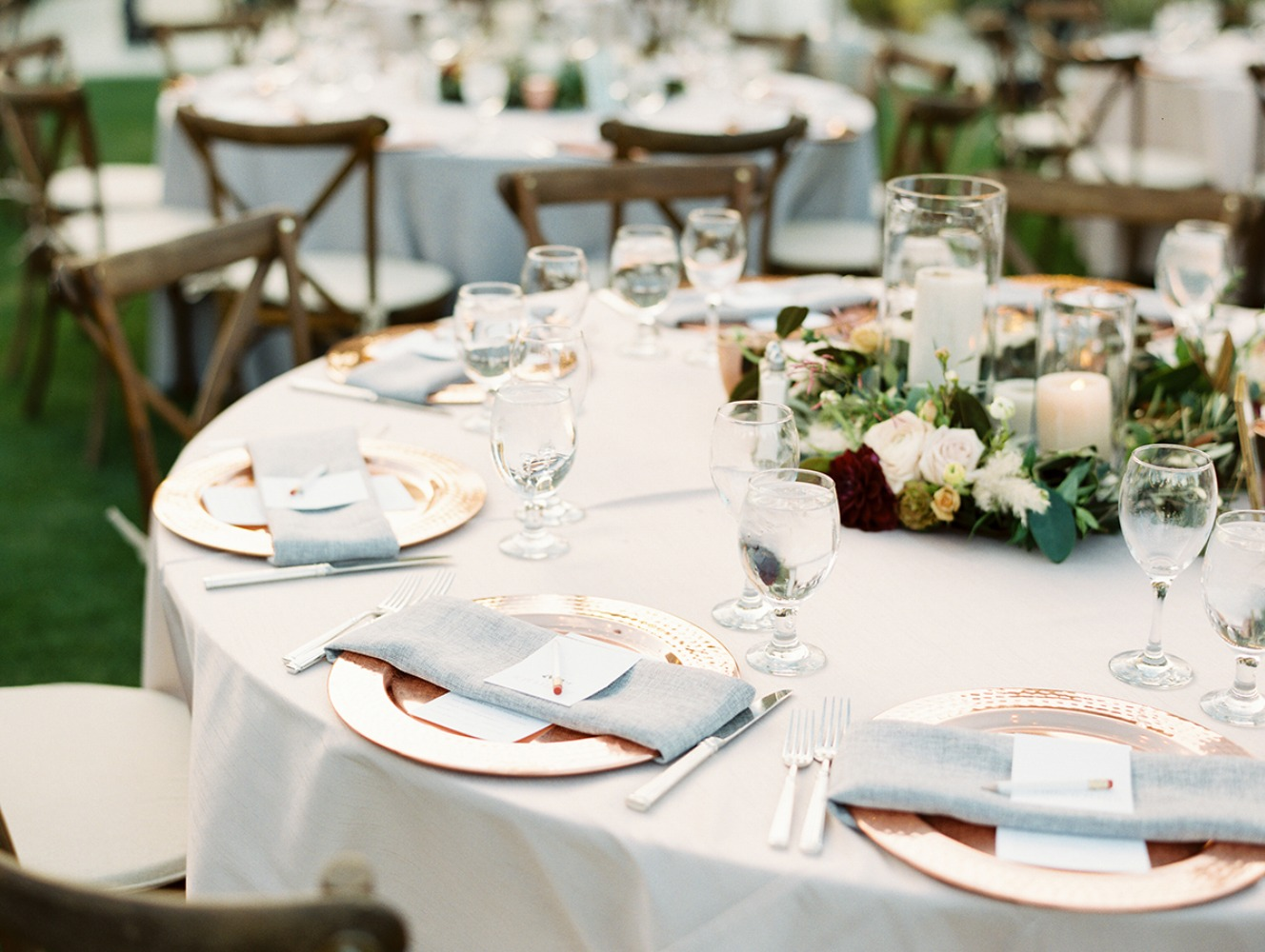 copper and grey wedding table decor