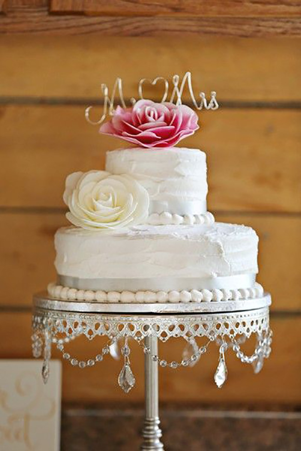 Simple White Wedding Cake Details on Antique Silver Chandelier Cake Stand created by Opulent Treasures {Brittany Bailey Photography