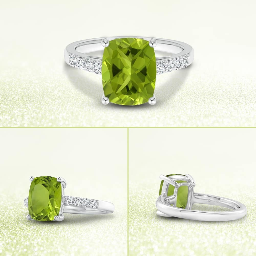 Exuding a delightful yellowish green hue, the GIA certified cushion peridot is sure to allure. It weighs 3.06 carats and features a