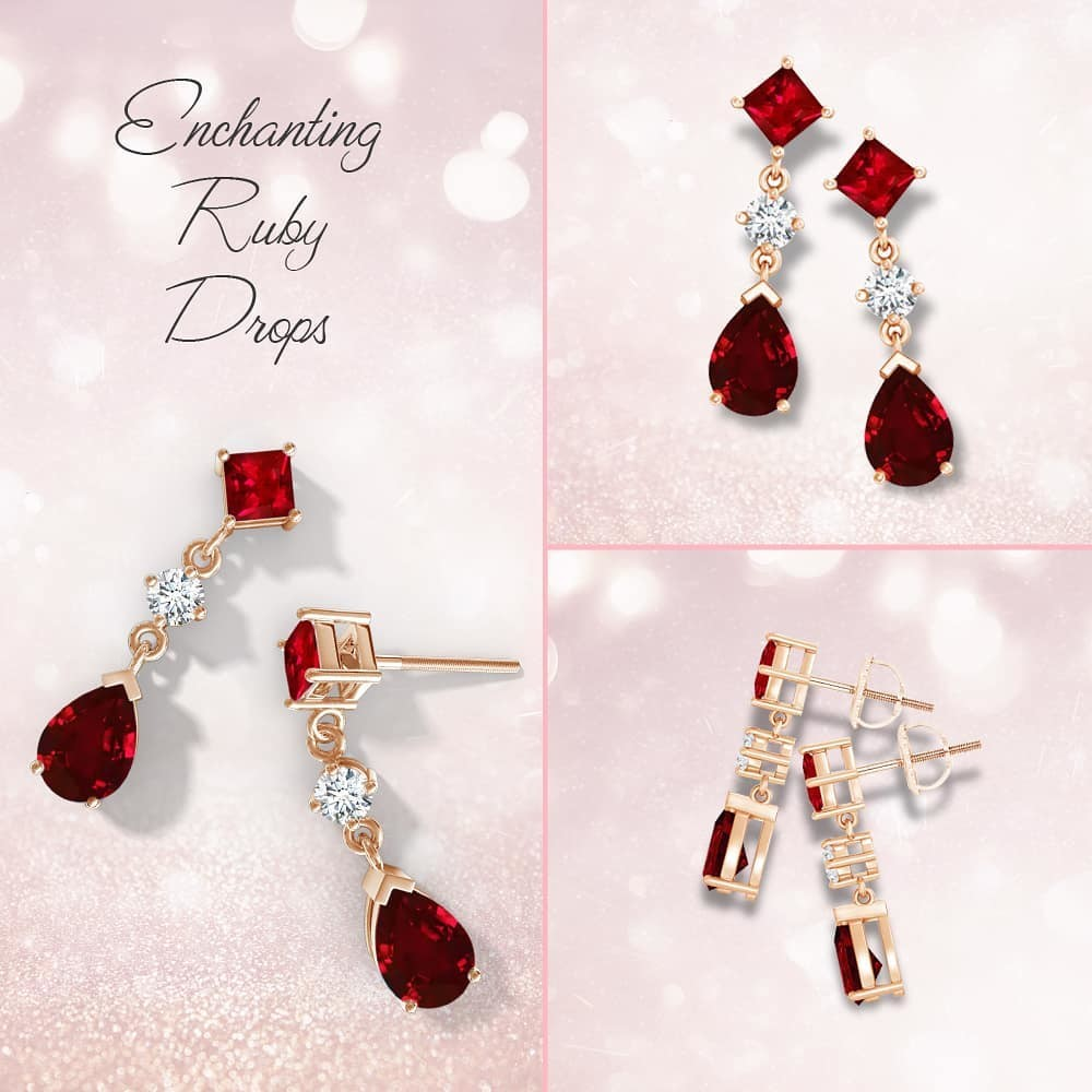 Slay it with these bold red ruby drop earrings.