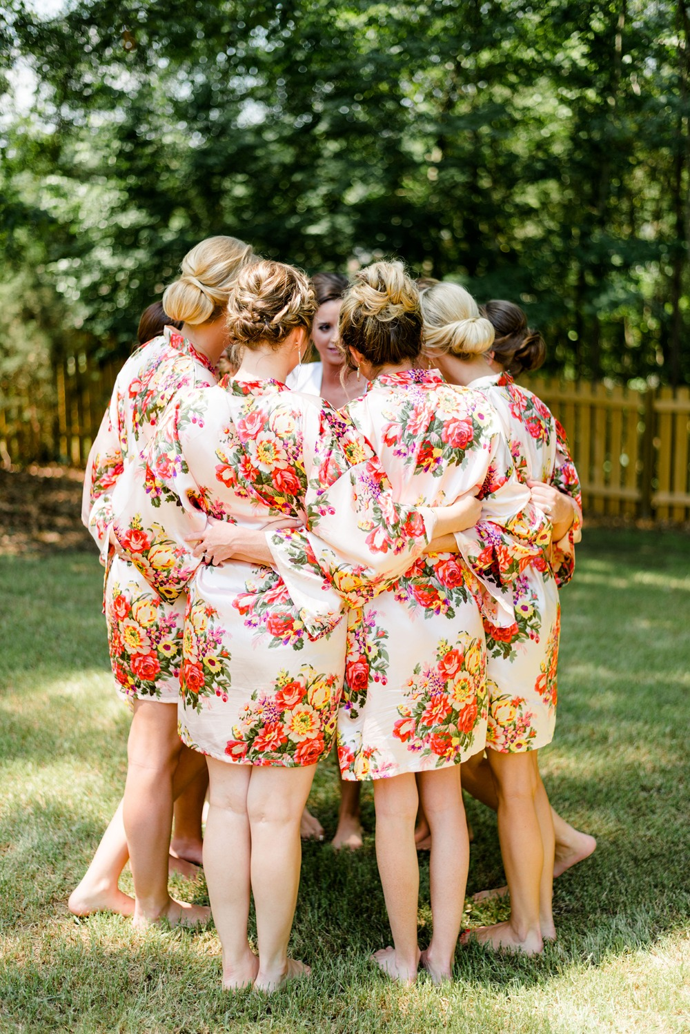 bridal party in getting ready robes
