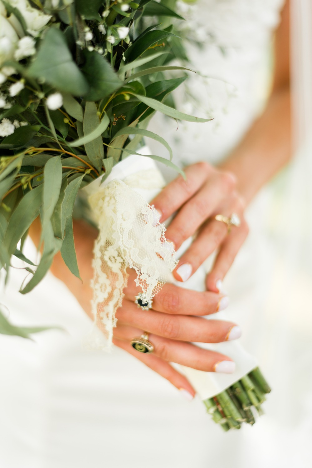 lace wrapped wedding bouquet
