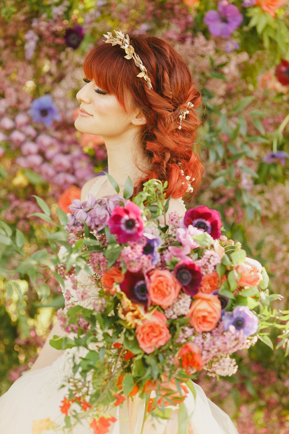 Floral Fairytale Shoot at Heavenly Oaks Flower Farm Bride and Bouquet