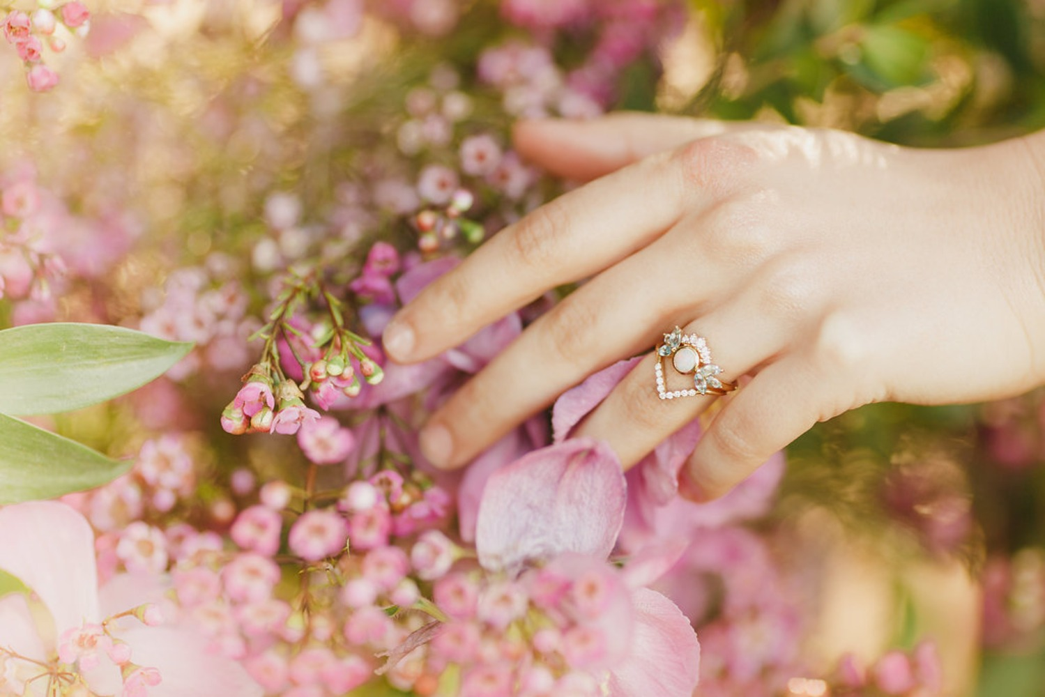 Floral Fairytale Shoot at Heavenly Oaks Flower Farm Bride with Ring