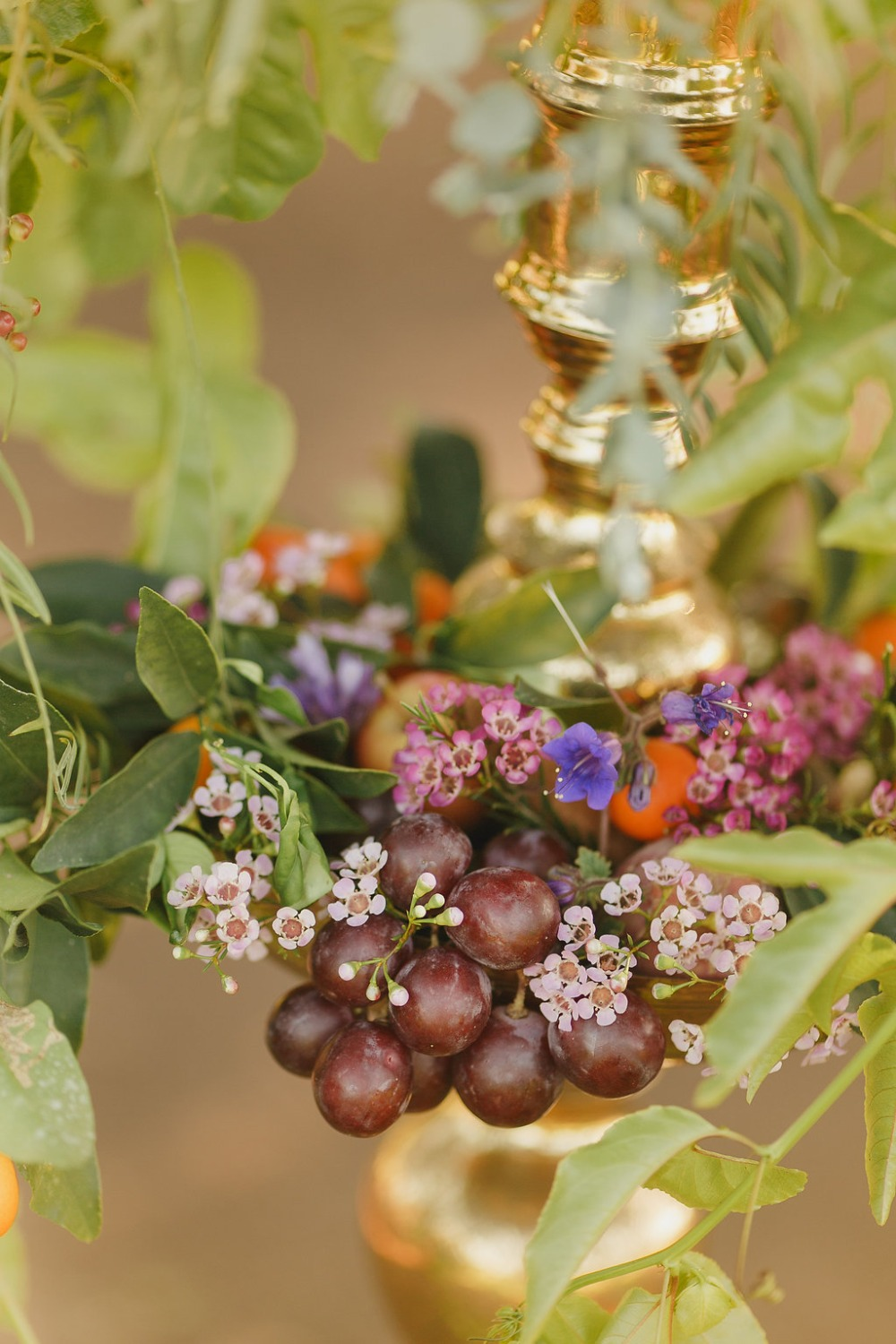 Floral Fairytale Shoot at Heavenly Oaks Flower Farm Grape-Wrapped Candle Holder