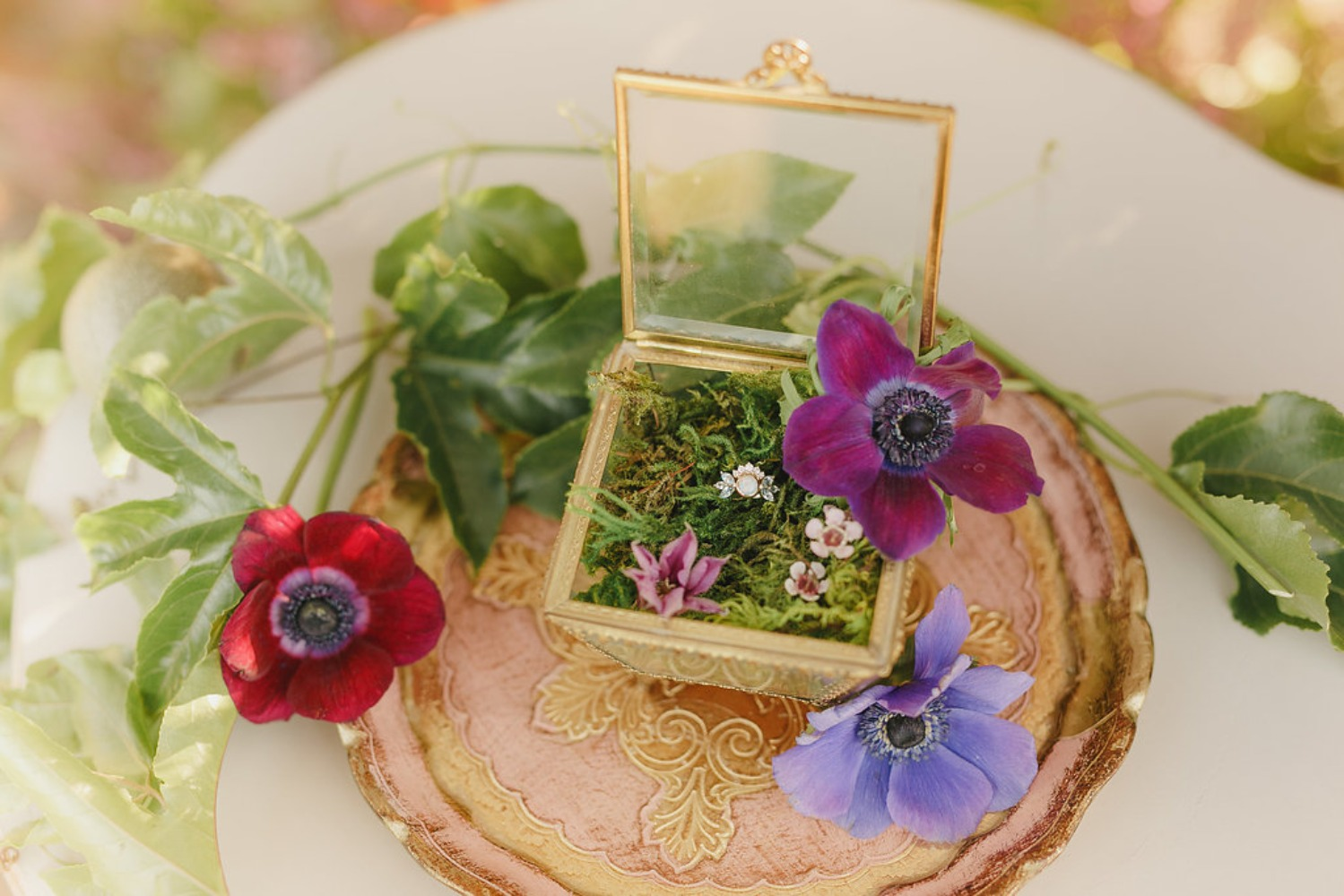 Floral Fairytale Shoot at Heavenly Oaks Flower Farm Ring Box