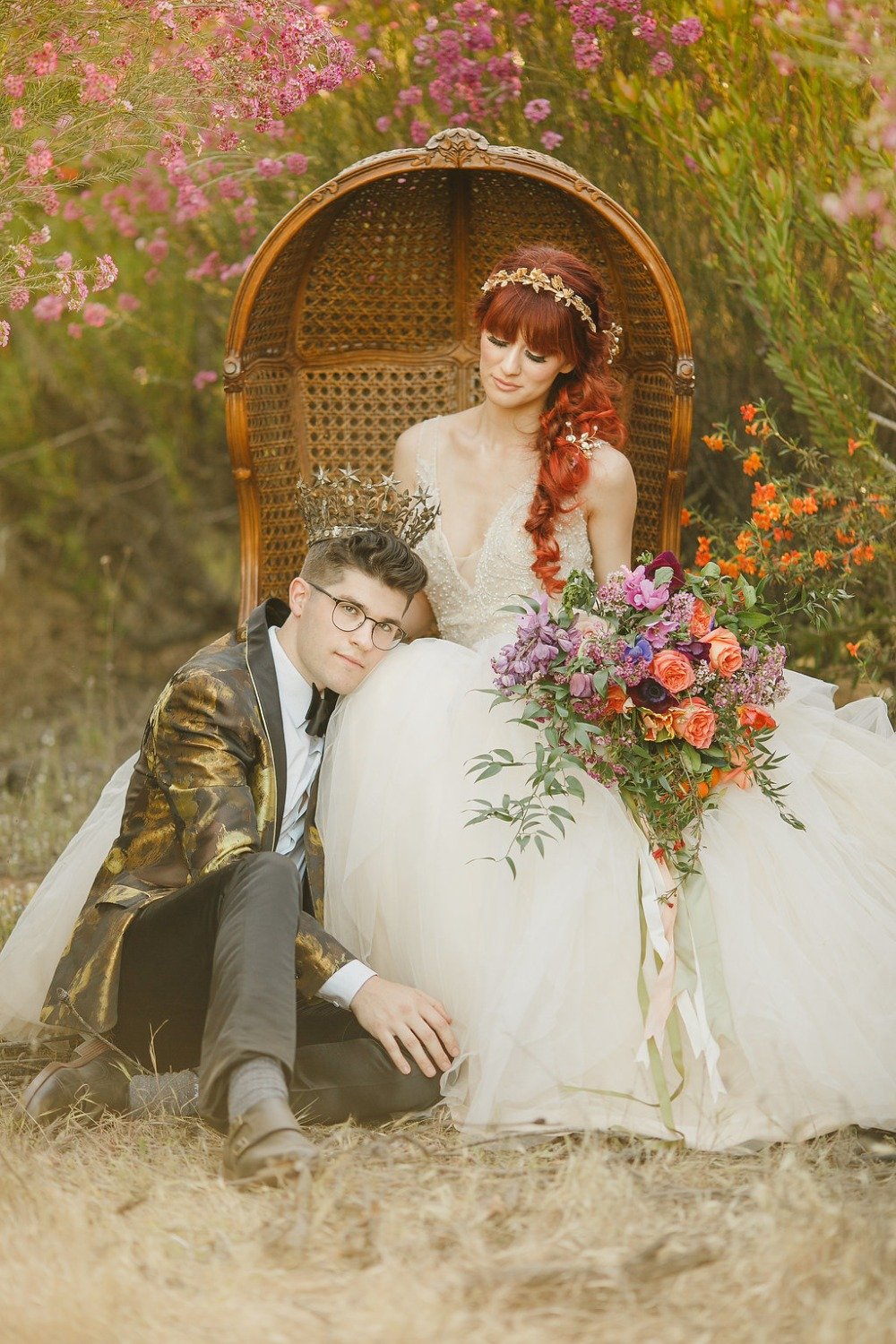 Floral Fairytale Shoot at Heavenly Oaks Flower Farm Royal Bride and Groom