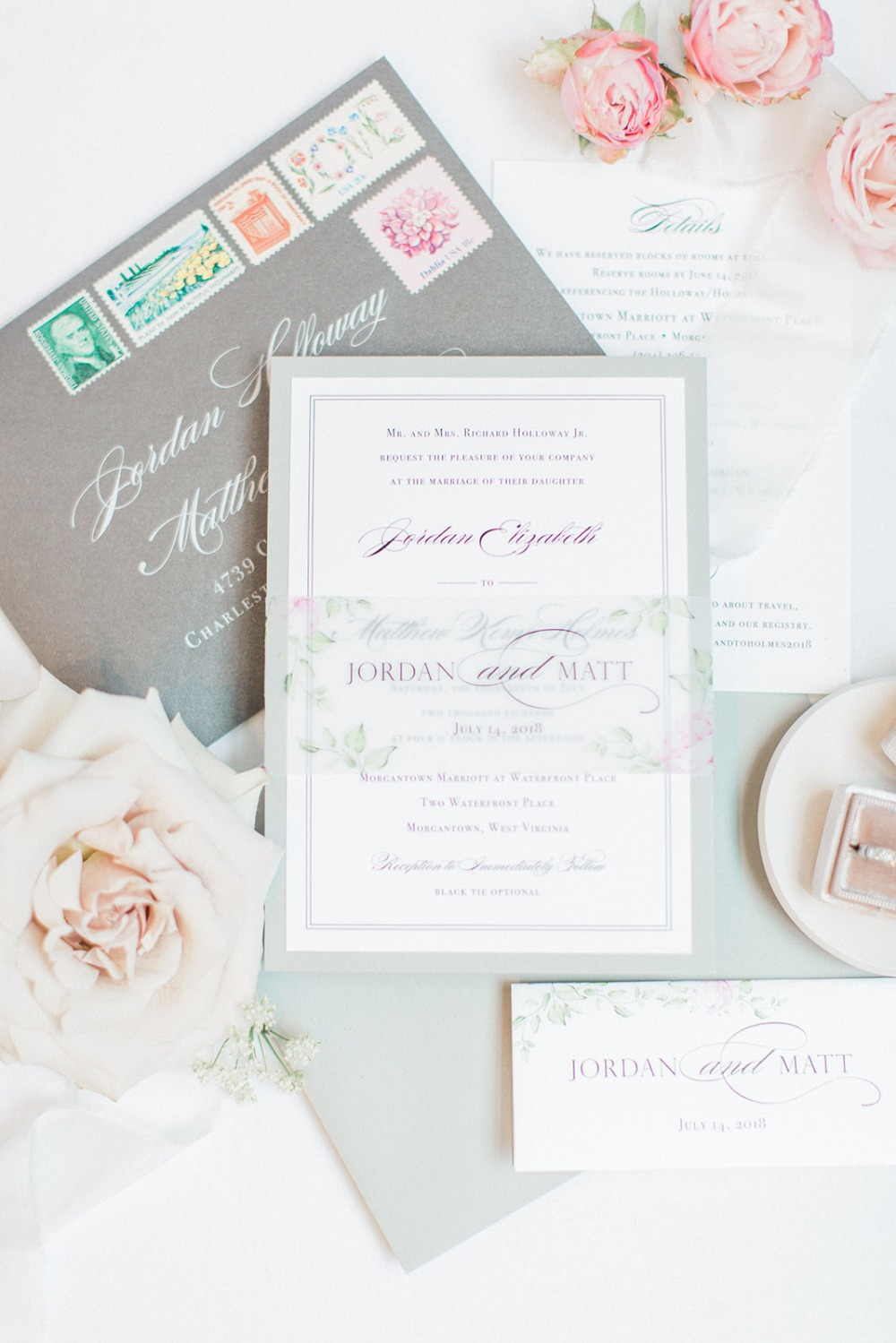 garden themed classic wedding invitation suite