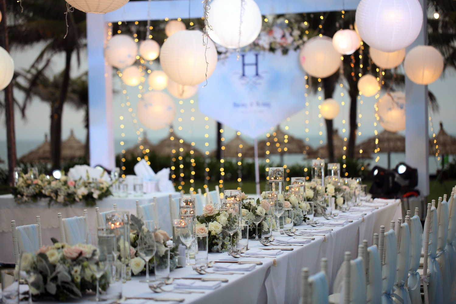 glowing evening wedding at the beach