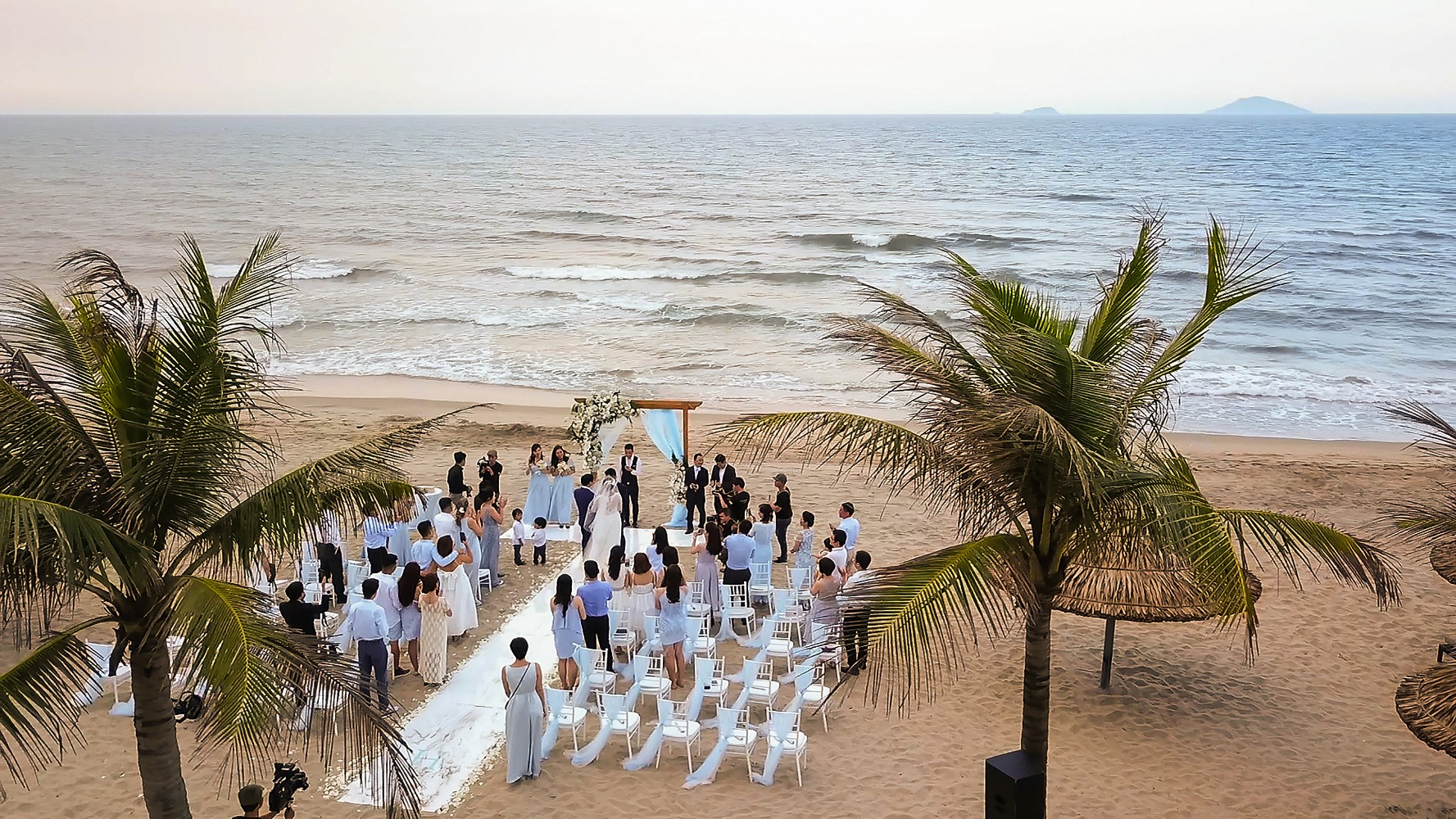 birds eye view of the beach ceremony