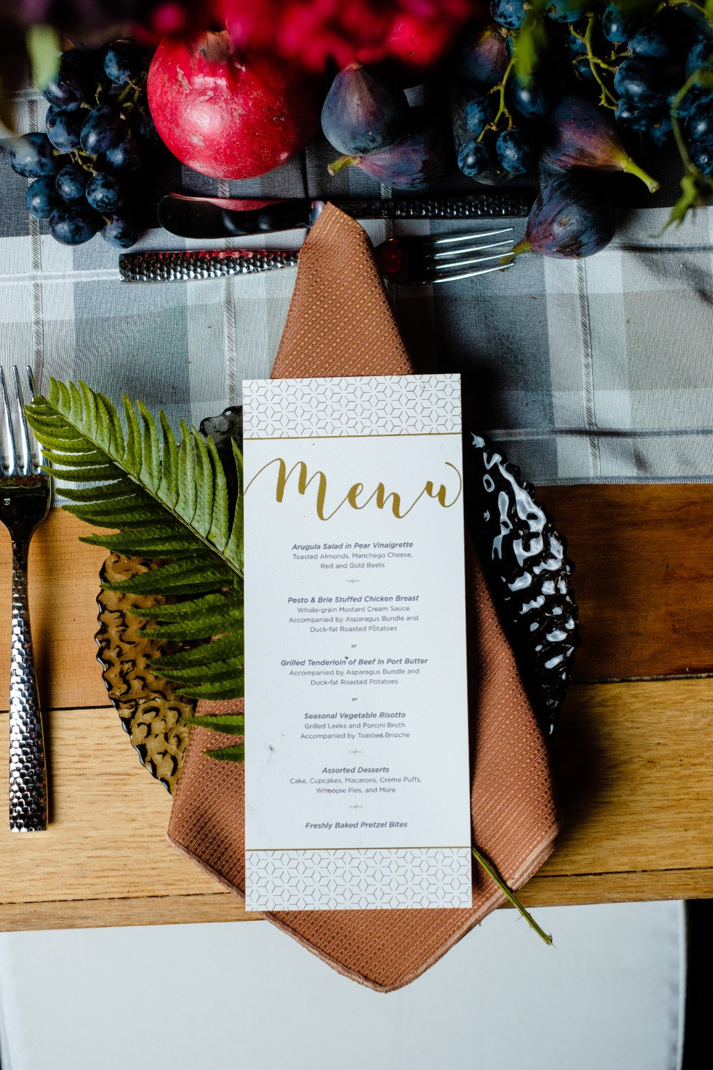 Custom designed, gold foiled, geometric inspired menus? Yes, please!