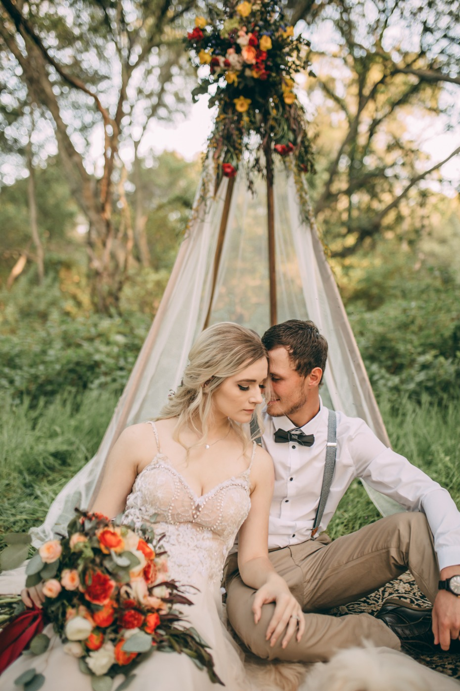 This Boho-Style Elopement Shoot at Folsom Lake Is Tee-Pee(p)-Worthy