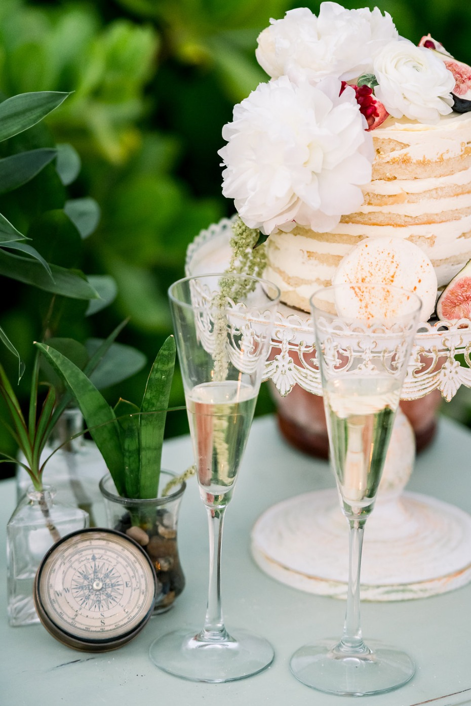 Cayman Island Beach Wedding Cake and Champagne