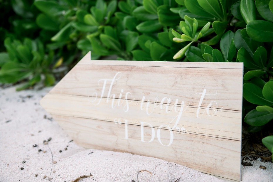 Cayman Island Beach Wedding 'This Way' Sign