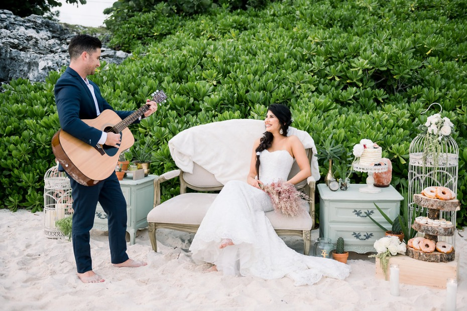 Cayman Island Beach Wedding Groom Playing Guitar