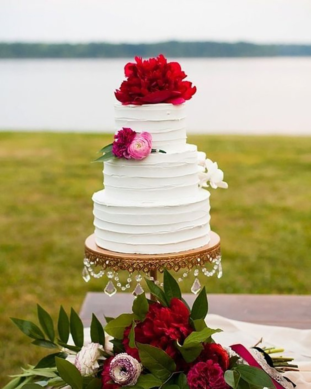 Bold Red Peony Wedding Cake on Antique Gold Chandelier Cake Stand created by Opulent Treasures // photo: @michael_simon // cake: @buttercream_bee