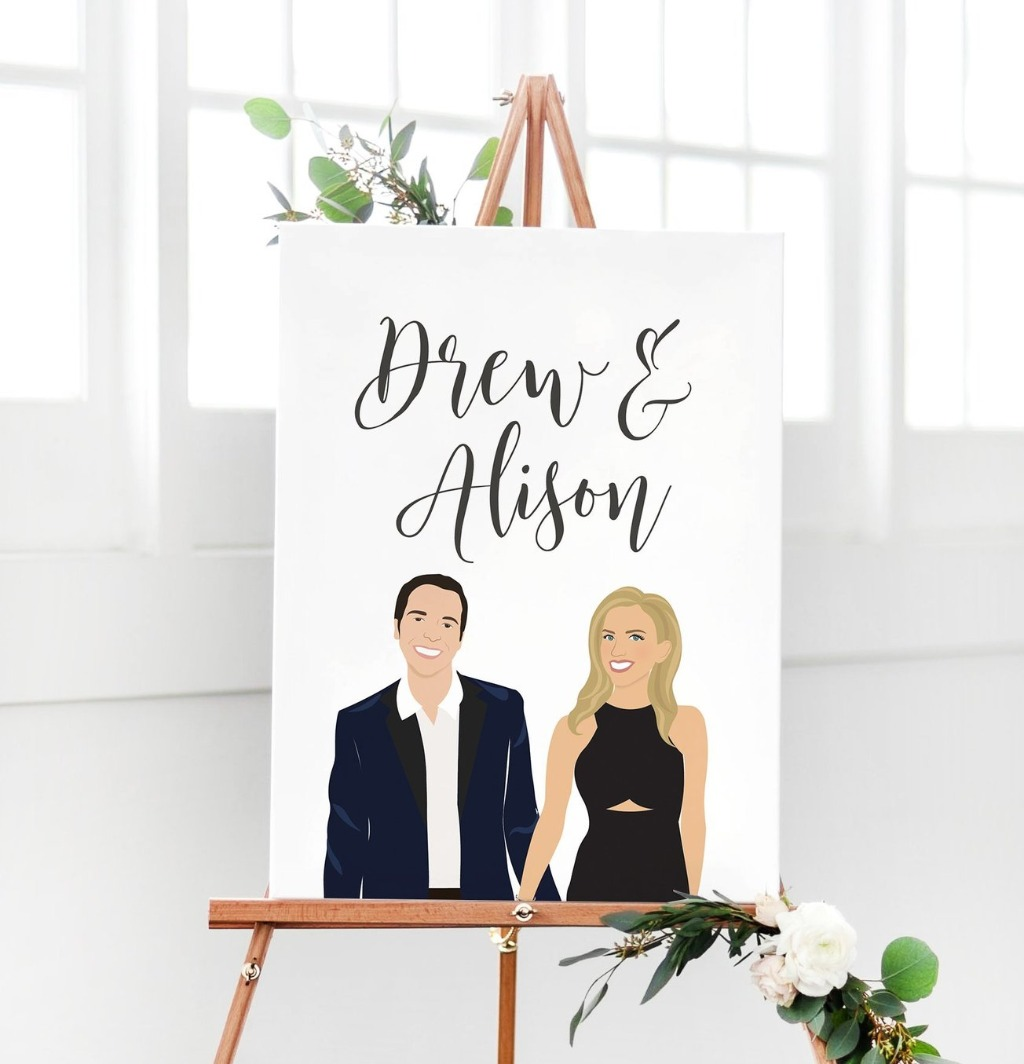 If you love having your custom couple portrait on everything (We do!!), this Modern Portrait Wedding Welcome Sign is the best way to