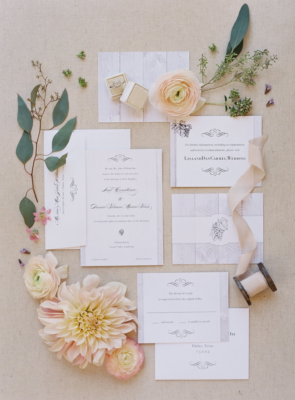a chic yet rustic wedding invitation suite