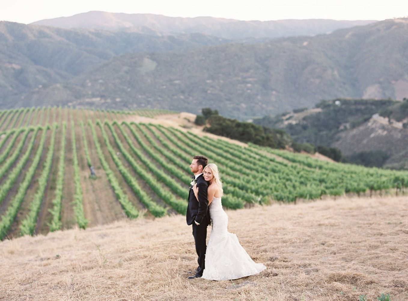 wedding couple at a winery