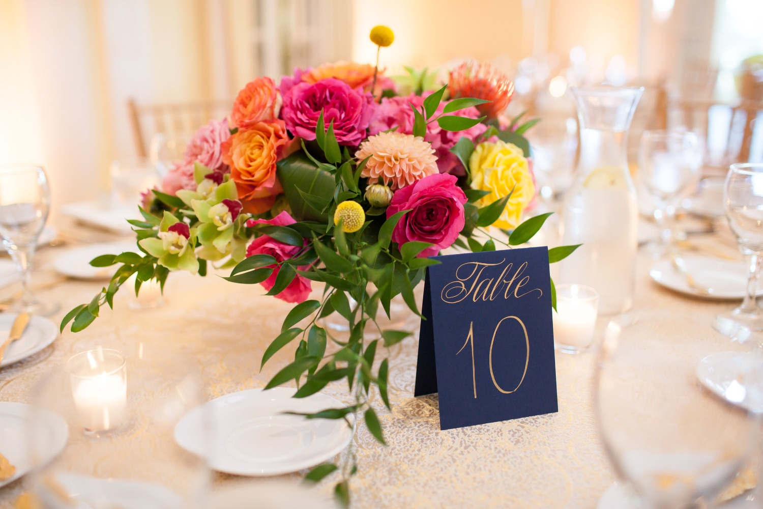 pink wedding floral centerpiece