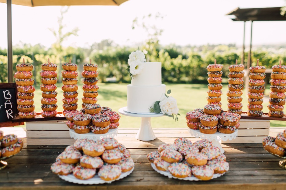 cake table and donut bar