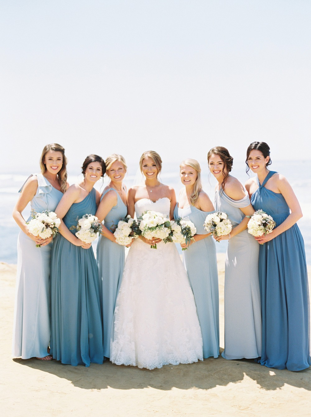 mismatched blue bridal party