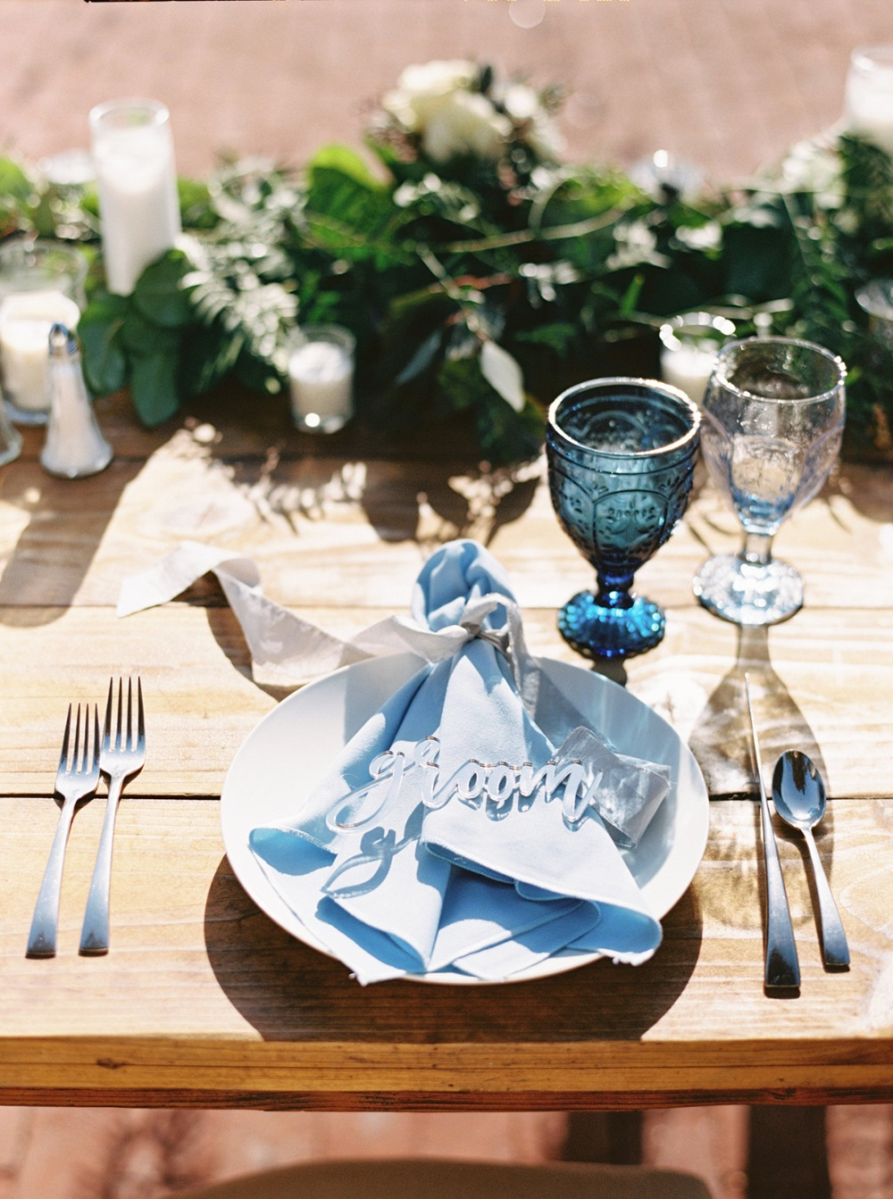 light blue place setting