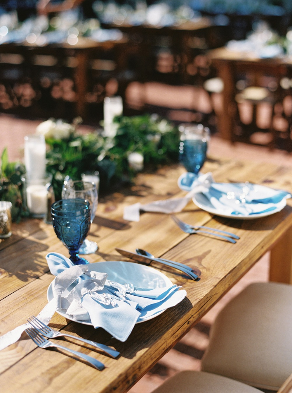 light blue wedding table decor