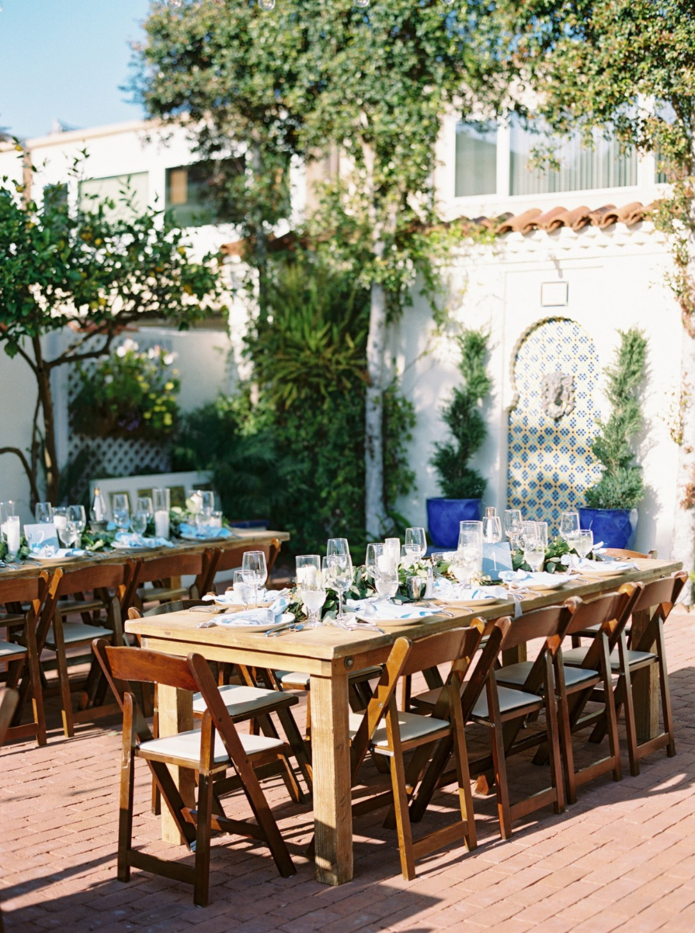 light blue patio wedding reception