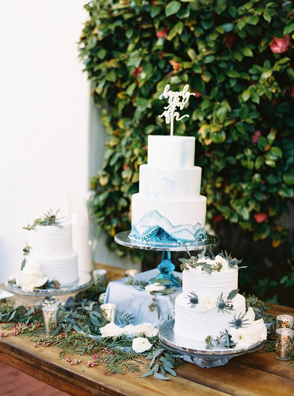 soft blue modern wedding cake