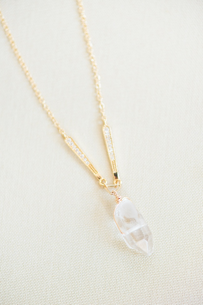 Crystal spike bridal necklace with yellow gold accents & minimal sparkles // Custom wedding jewelry & hair accessories made