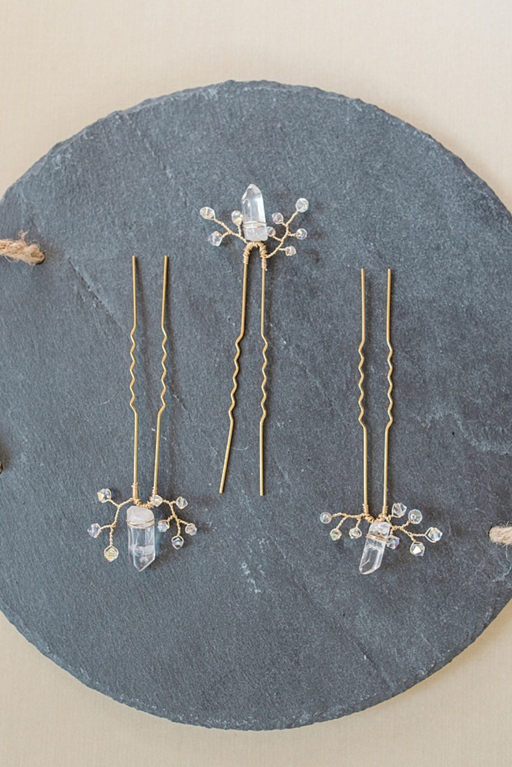 Crystal spike bridal hairpin set with yellow gold accents // Custom wedding jewelry & hair accessories made by J'Adorn Designs