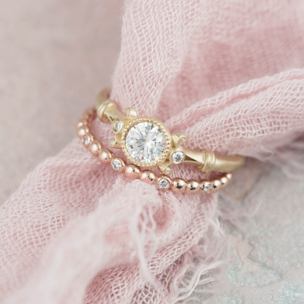 Our Florence ring in 14k yellow gold with our Dewdrop diamond ring in 14k shimmery rose gold