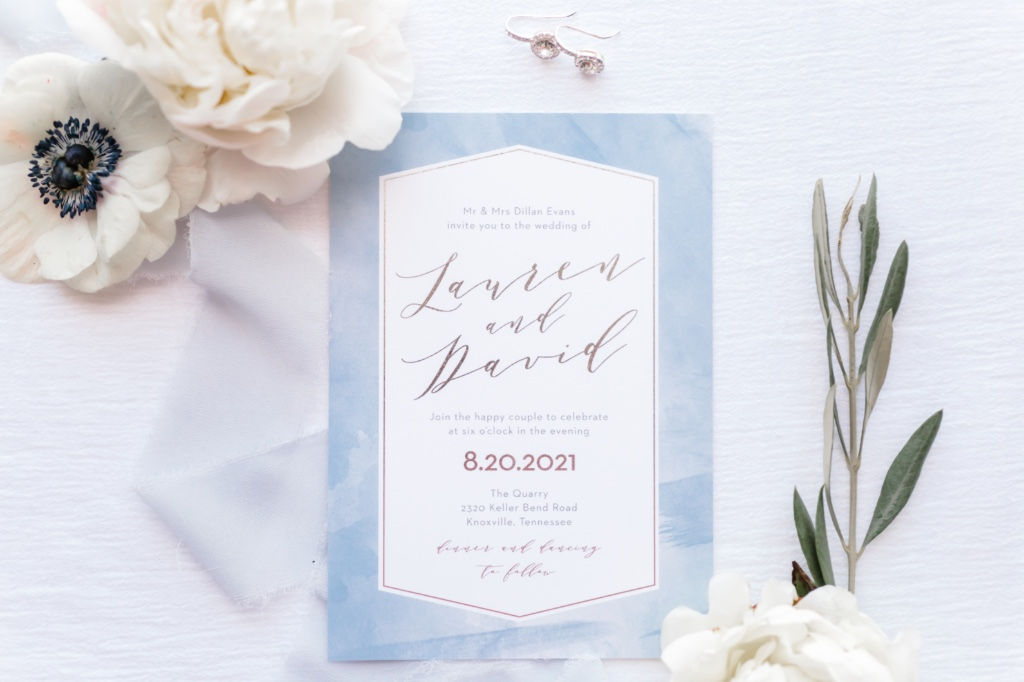 The Blushing Love Wedding Invitation dressed in gorgeous rose gold foil. Choose from silver or gold, too. What's your foil color of