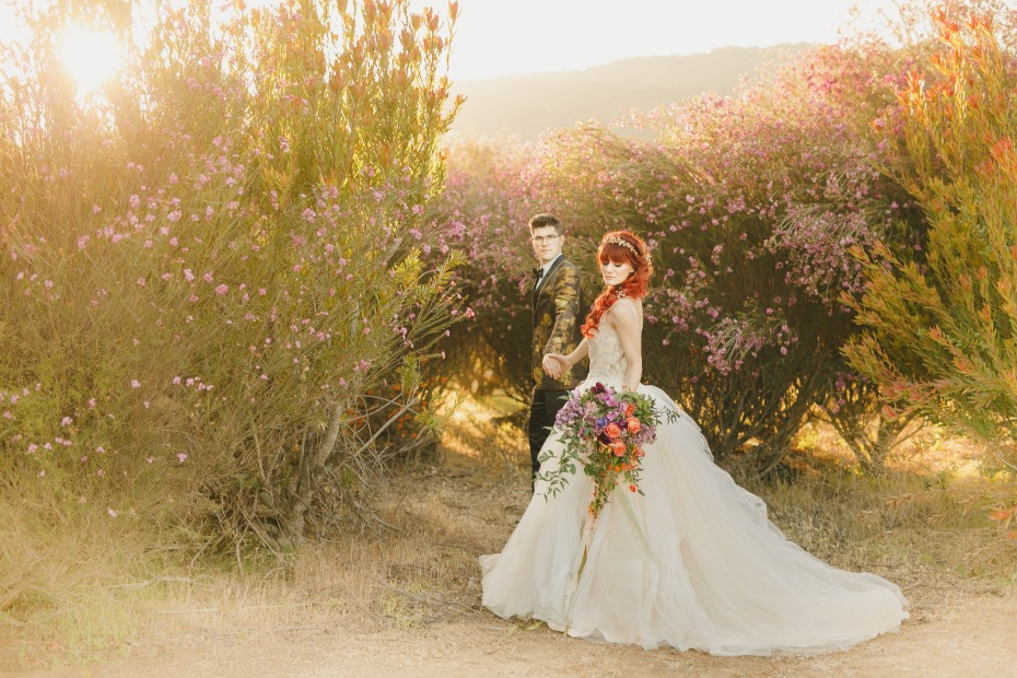Floral Fairytale Shoot at Heavenly Oaks Flower Farm Couple Exiting