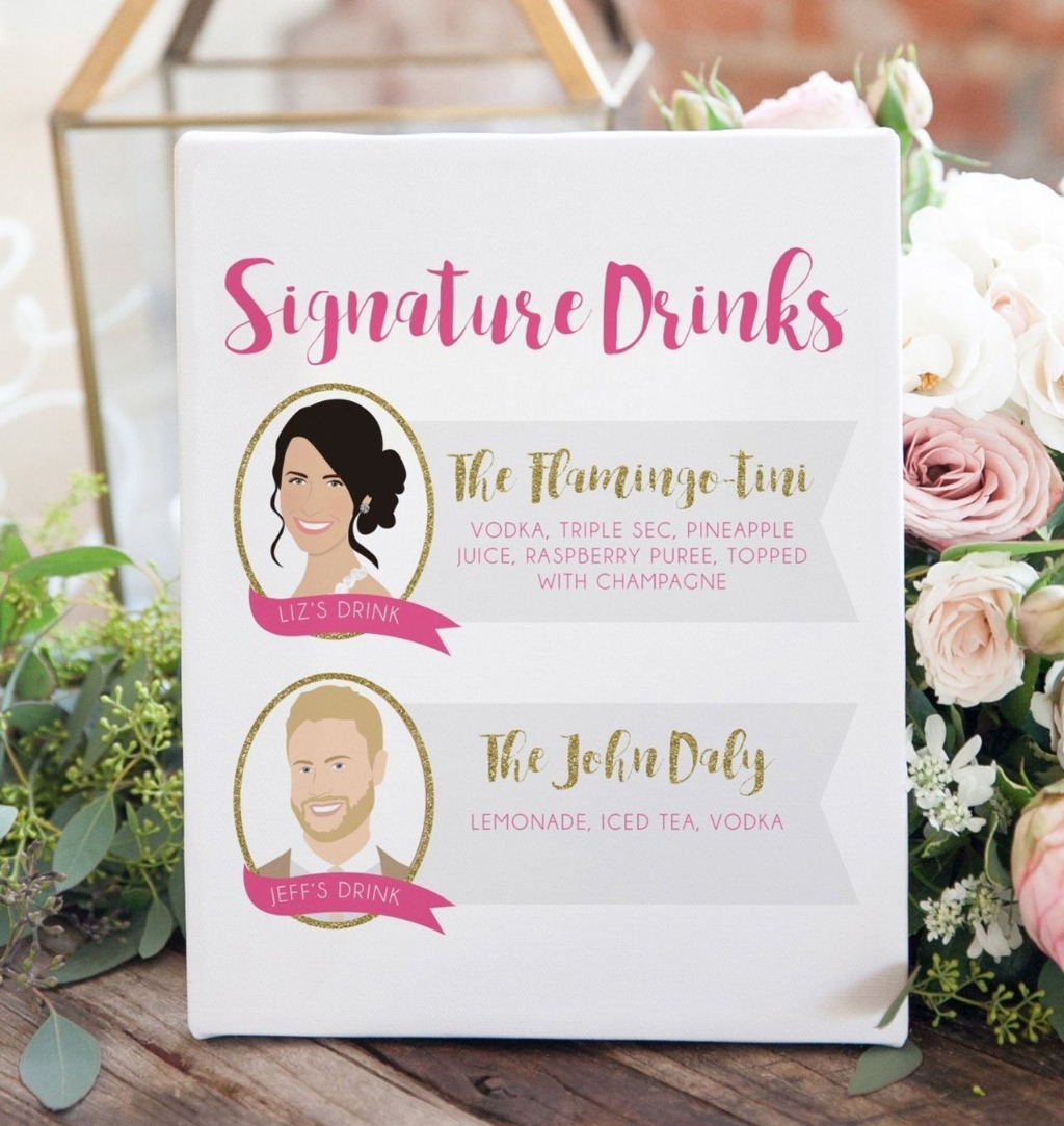 This Signature Cocktail Wedding Sign with a Couple Portrait is perfect for the couple that wants a little something different for their