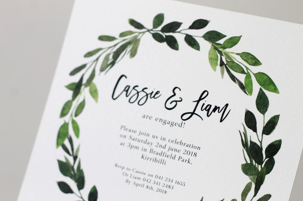 Engaged? See our engagement invitations range 🍃💚