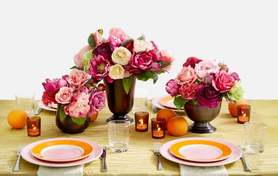 Pink and Orange Long Table Centerpiece Ideas by Jamali Garden