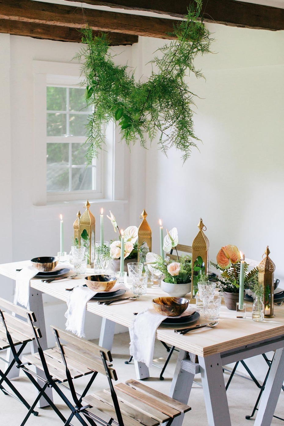 Rustic Wedding Table Decorations with Lanterns by Jamali Garden and Ruffled Blog