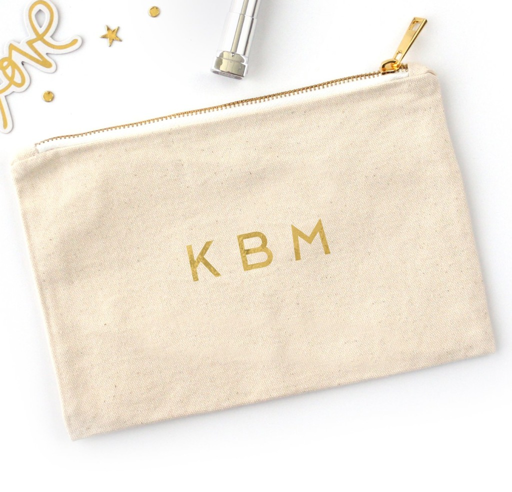 Searching for the best bridesmaid gifts?? This Foil Printed Cosmetic Bag with Monogram from Miss Design Berry is PERFECT!! They come