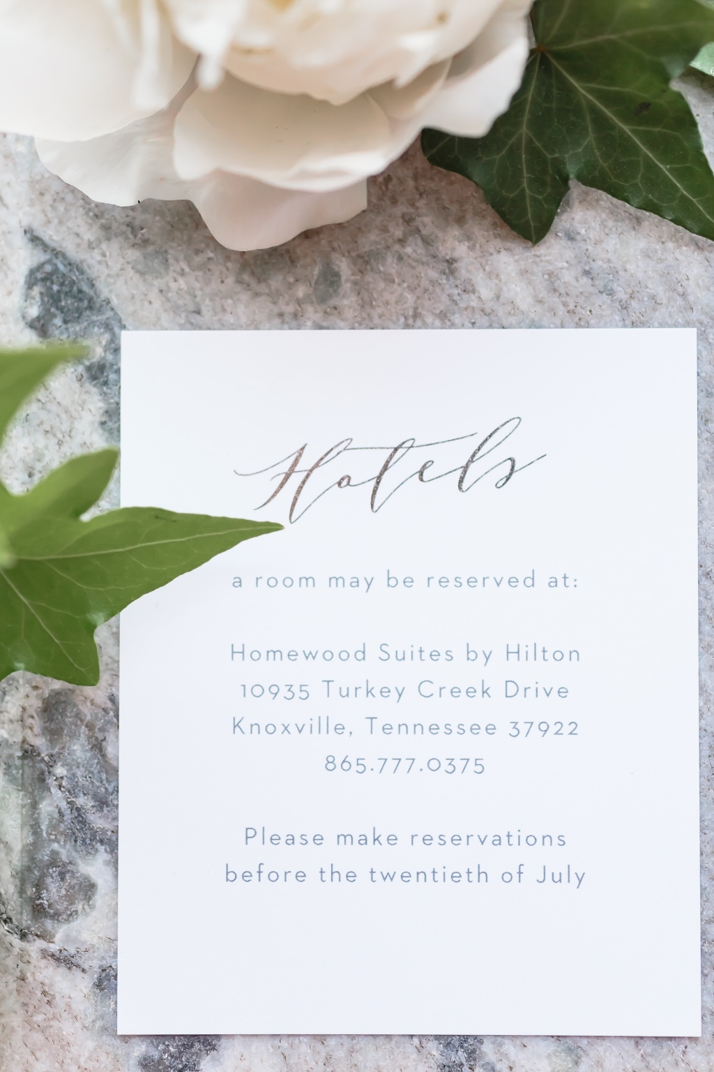 Swanky foil enclosure cards to impress your guests.