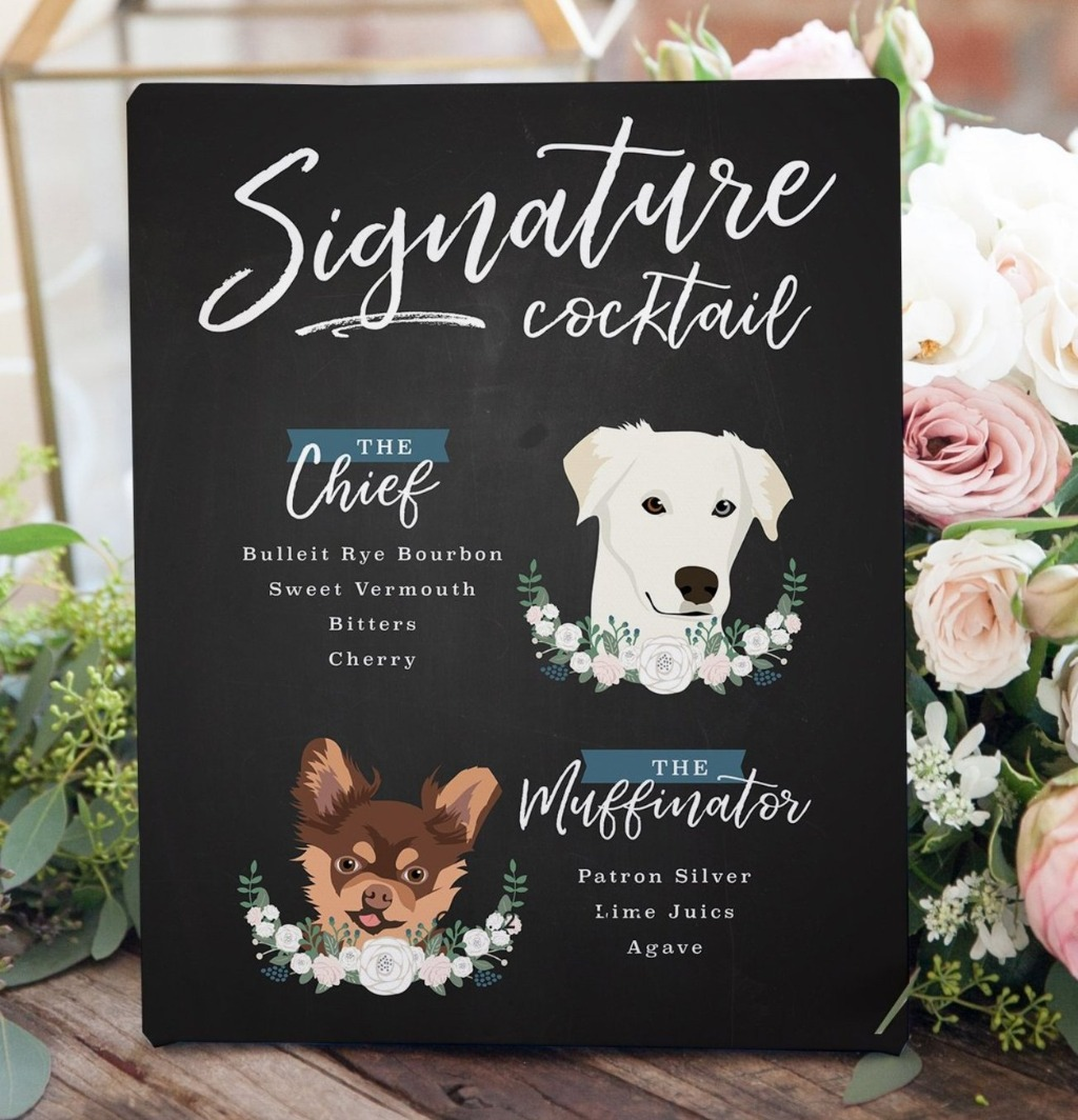 If you're in love with Signature Cocktail Signs and pets (like we are!!), this Chalkboard Signature Cocktail Sign with Two Pet Portraits