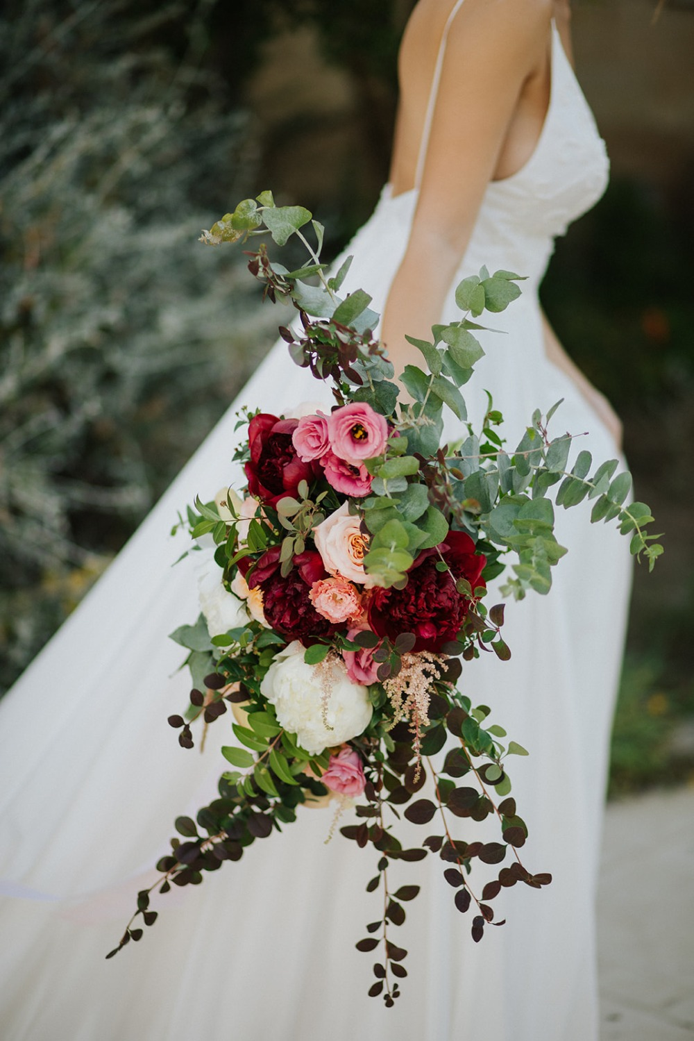 romantic cascading wedding bouquet