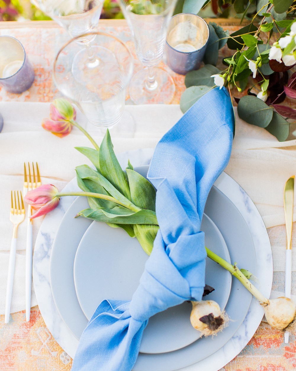 quaint and elegant tulip accented place setting