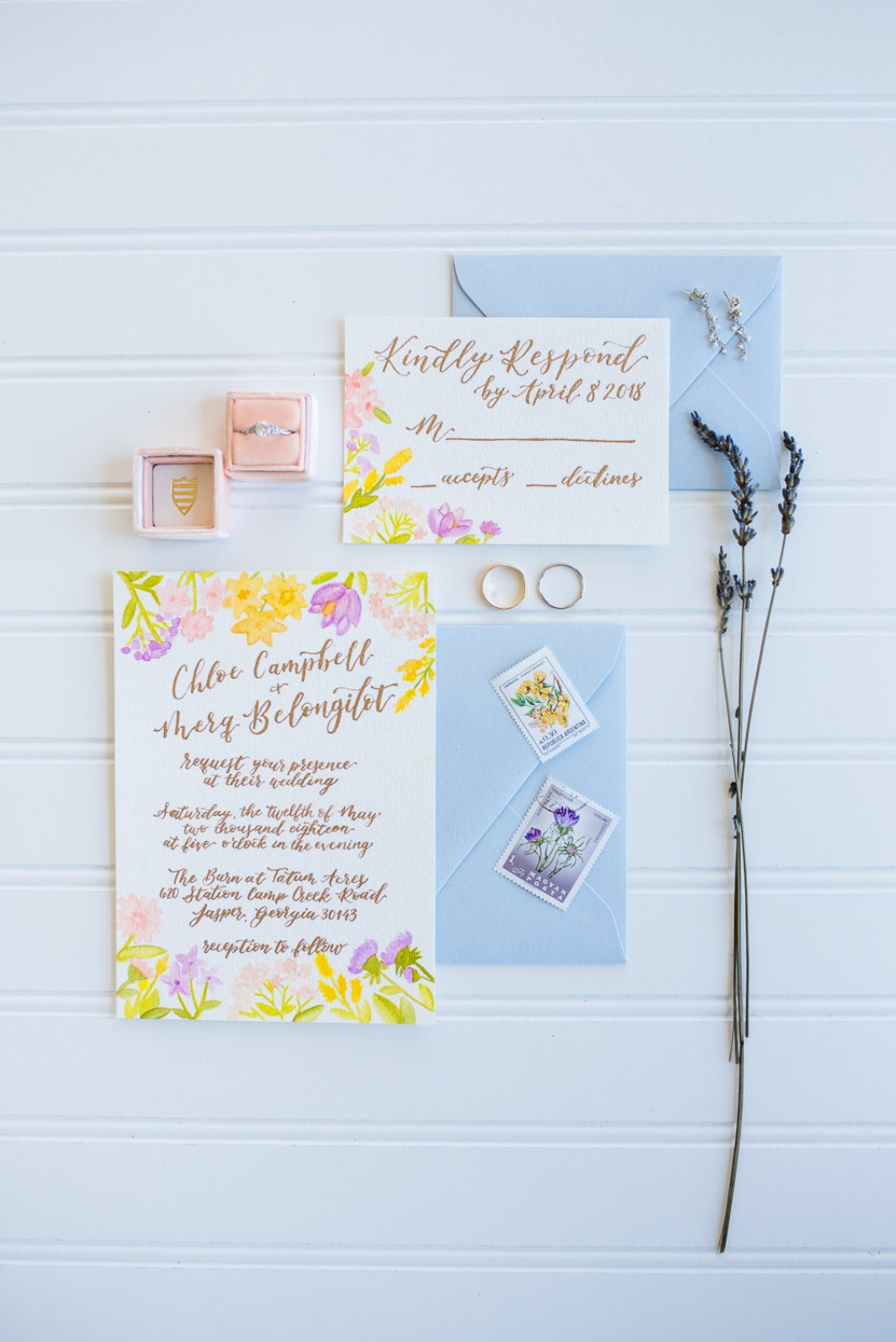 sweet floral wedding stationery