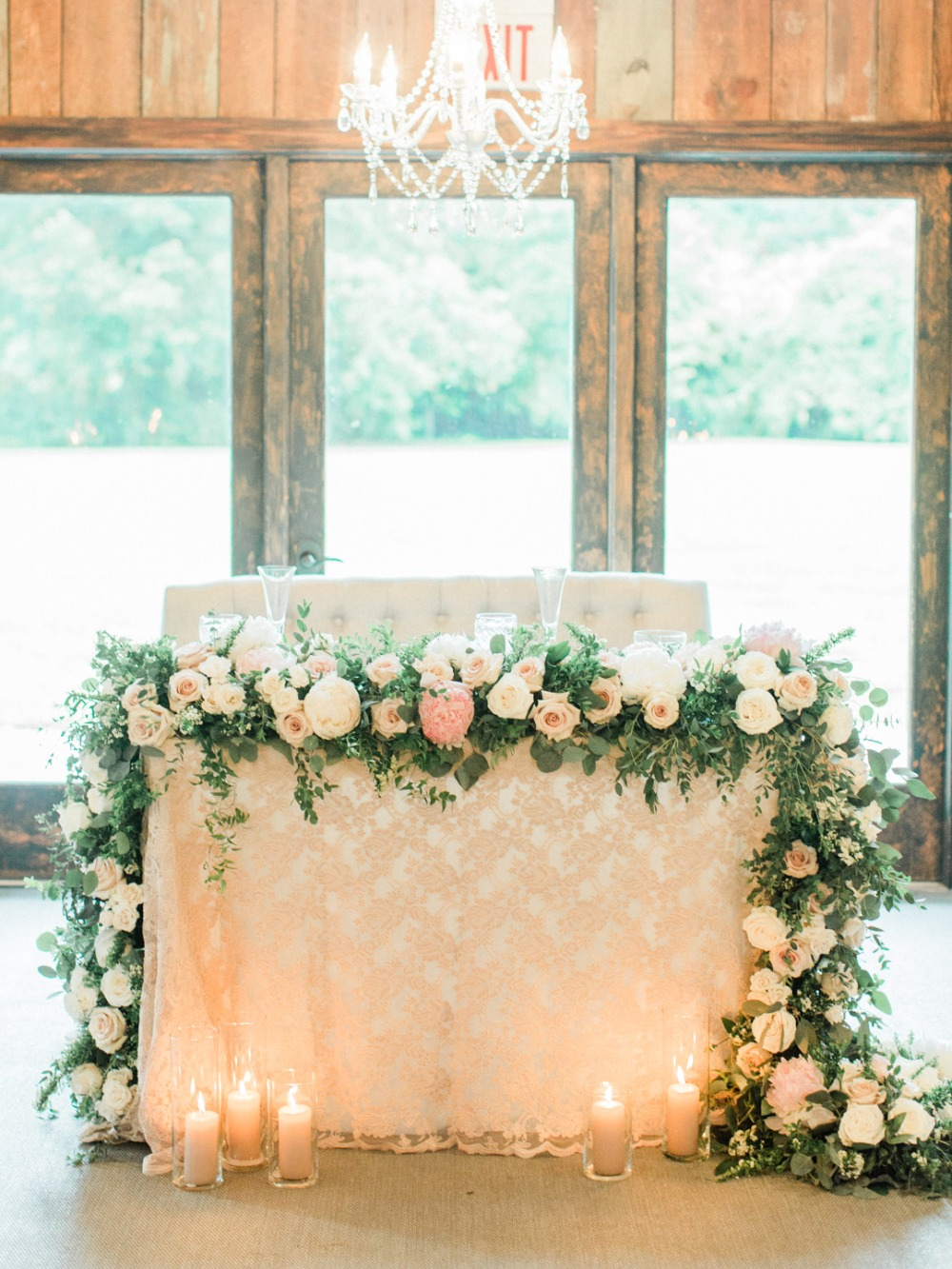 wedding sweetheart table in blush and gold