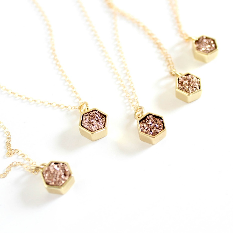 Etsy Rose Gold Druzy Necklace