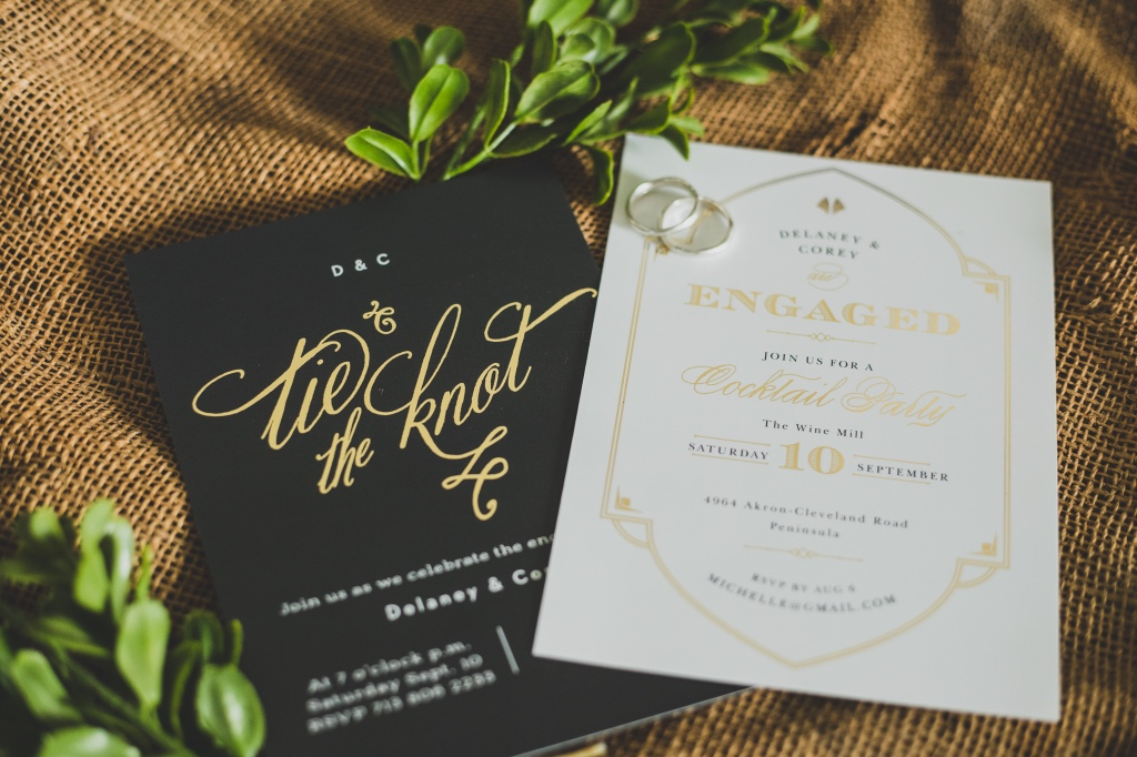 Foil stamped engagement party invitations to match that new bling!