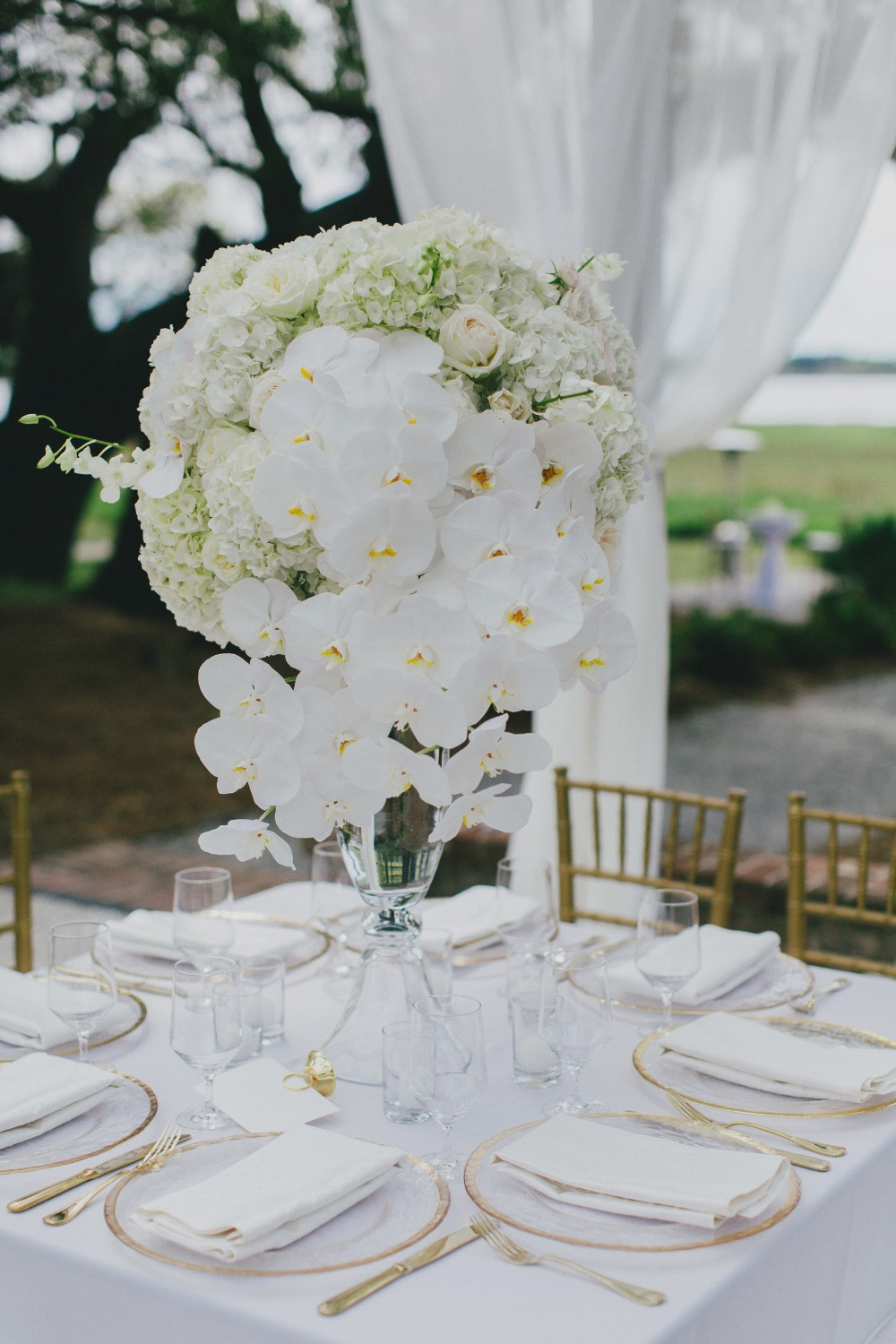 all white glam wedding table decor